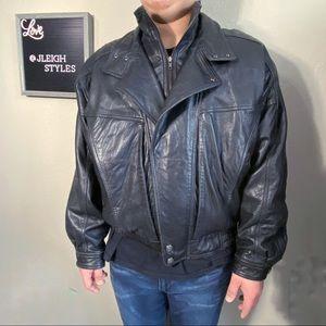 Vintage 90's Y2K Black Leather Lined Moto Jacket
